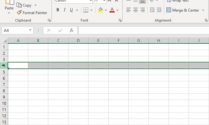 Selecting the entire row in one click.