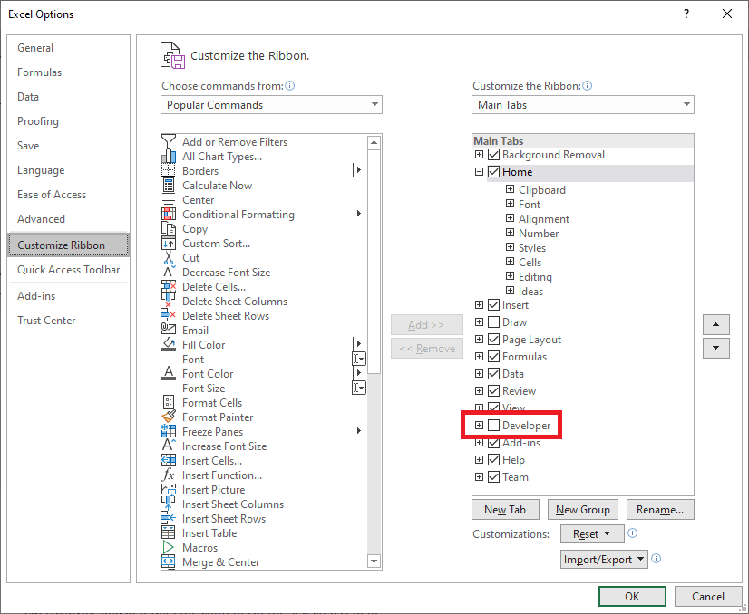 The Customize Ribbon tab of the Excel Options window with the Developer checkbox accentuated.
