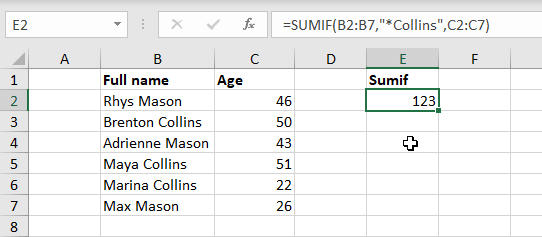 Using Excel Sumif with an asterisk (*) wildcard to sum the ages of the Collins family.